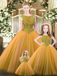 Classical Beading Quinceanera Dresses Orange Lace Up Sleeveless Floor Length