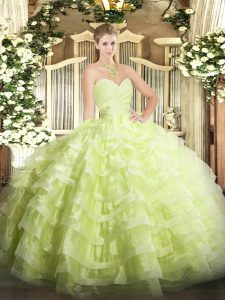 Stunning Yellow Green Sweetheart Lace Up Beading and Ruffled Layers Quince Ball Gowns Sleeveless