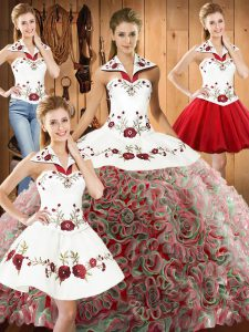 Customized Multi-color Sleeveless Embroidery Lace Up 15 Quinceanera Dress