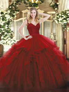 Wine Red Backless V-neck Beading and Lace and Ruffles Sweet 16 Dress Organza Sleeveless