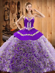 Nice Multi-color Satin and Fabric With Rolling Flowers Lace Up Sweet 16 Dress Sleeveless With Train Sweep Train Embroidery