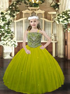 Sleeveless Tulle Floor Length Lace Up Little Girl Pageant Gowns in Olive Green with Beading