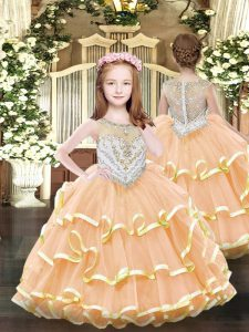 Dazzling Orange Zipper Scoop Beading and Ruffled Layers Little Girls Pageant Dress Wholesale Organza Sleeveless
