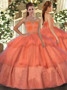 Cheap Orange Red Ball Gowns Sweetheart Sleeveless Organza Floor Length Lace Up Beading and Ruffled Layers Sweet 16 Dresses