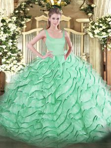 Sleeveless Organza Brush Train Zipper Vestidos de Quinceanera in Apple Green with Ruffled Layers
