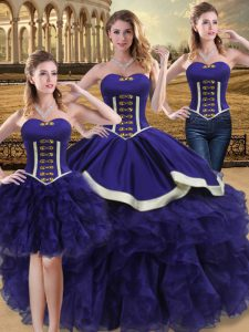 Colorful Purple Lace Up Sweetheart Beading and Ruffles 15th Birthday Dress Organza Sleeveless