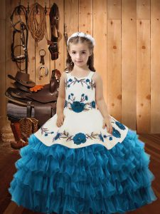 Floor Length Teal Pageant Dress Wholesale Organza Sleeveless Embroidery and Ruffled Layers