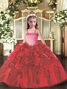 Sleeveless Organza Floor Length Lace Up Pageant Dress Toddler in Red with Appliques and Ruffles