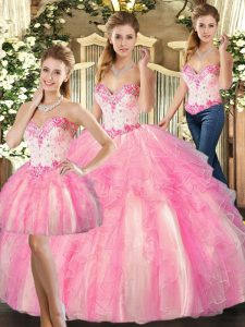 On Sale Rose Pink Organza Lace Up Sweetheart Sleeveless Floor Length Quinceanera Dress Beading and Ruffles