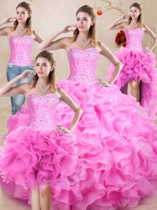 Fine Rose Pink Sleeveless Organza Lace Up Vestidos de Quinceanera for Sweet 16 and Quinceanera