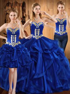 Excellent Floor Length Lace Up Quinceanera Dresses Royal Blue for Military Ball and Sweet 16 and Quinceanera with Embroidery and Ruffles
