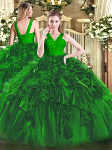 Affordable Dark Green Sweet 16 Dress Military Ball and Sweet 16 and Quinceanera with Ruffles V-neck Sleeveless Zipper