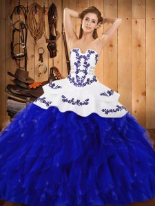 High Class Satin and Organza Strapless Sleeveless Lace Up Embroidery and Ruffles 15 Quinceanera Dress in Blue And White