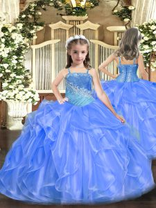 Blue Straps Neckline Ruffles and Sequins Pageant Gowns For Girls Sleeveless Lace Up