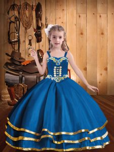 Blue Lace Up Straps Embroidery and Ruffled Layers Little Girl Pageant Dress Organza Sleeveless