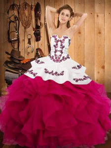 Strapless Sleeveless Satin and Organza Sweet 16 Dresses Embroidery and Ruffles Lace Up