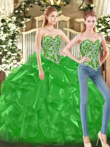 Sweetheart Sleeveless Lace Up Ball Gown Prom Dress Green Tulle