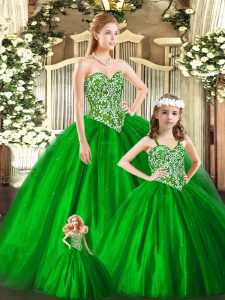 Best Green Lace Up Quinceanera Dresses Beading Sleeveless Floor Length