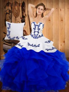 Blue Strapless Lace Up Embroidery Vestidos de Quinceanera Sleeveless