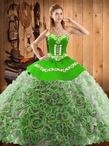 Sleeveless With Train Embroidery Lace Up Sweet 16 Dress with Multi-color Sweep Train