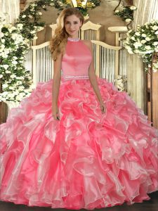 Dynamic Hot Pink Sleeveless Organza Backless 15th Birthday Dress for Military Ball and Sweet 16 and Quinceanera