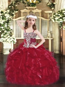 Sleeveless Organza Floor Length Lace Up Little Girls Pageant Gowns in Wine Red with Appliques and Ruffles