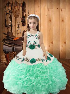 Popular Apple Green Ball Gowns Straps Sleeveless Fabric With Rolling Flowers Floor Length Lace Up Embroidery and Ruffles Little Girls Pageant Dress Wholesale