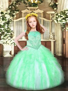 Ball Gowns Glitz Pageant Dress Apple Green Scoop Organza Sleeveless Floor Length Zipper