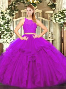 Nice Fuchsia Zipper 15 Quinceanera Dress Ruffles Sleeveless Floor Length