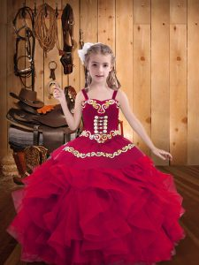 Trendy Red Straps Lace Up Embroidery and Ruffles Pageant Dress for Womens Sleeveless