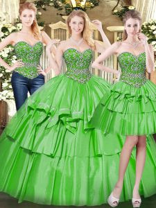 Flare Floor Length Green Quinceanera Dress Organza Sleeveless Beading and Ruffled Layers