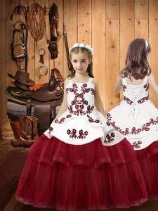 Burgundy Ball Gowns Tulle Straps Sleeveless Embroidery Floor Length Lace Up Custom Made Pageant Dress