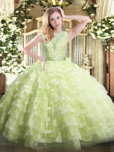 Fashion Yellow Green Ball Gowns Scoop Sleeveless Organza Floor Length Backless Lace and Ruffled Layers 15 Quinceanera Dress
