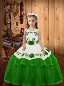 Lovely Floor Length Green Child Pageant Dress Organza Sleeveless Embroidery and Ruffled Layers