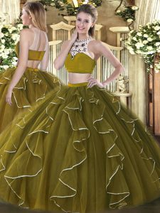 Extravagant Beading and Ruffles Sweet 16 Dresses Olive Green Backless Sleeveless Floor Length