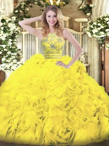 Gold Ball Gowns Halter Top Sleeveless Tulle Floor Length Zipper Beading and Ruffles 15th Birthday Dress