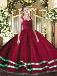 Superior Wine Red Straps Zipper Ruffled Layers and Ruching Sweet 16 Dress Sleeveless