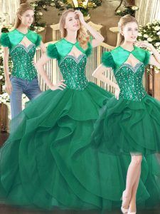 Dramatic Tulle Sleeveless Floor Length Quince Ball Gowns and Beading and Ruffles