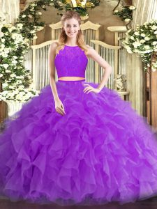 Clearance Eggplant Purple Zipper Vestidos de Quinceanera Ruffles Sleeveless Floor Length