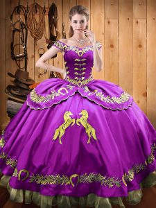 Eggplant Purple Off The Shoulder Lace Up Beading and Embroidery Ball Gown Prom Dress Sleeveless