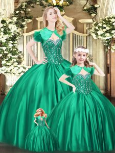 Green Organza Lace Up Sweetheart Sleeveless Floor Length 15 Quinceanera Dress Beading