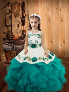 Top Selling Straps Sleeveless Little Girl Pageant Gowns Floor Length Embroidery and Ruffles Teal Tulle