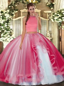Simple Halter Top Sleeveless Vestidos de Quinceanera Floor Length Beading and Ruffles Coral Red Tulle