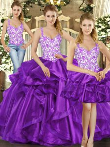 Designer Eggplant Purple Ball Gowns Tulle Straps Sleeveless Beading and Ruffles Floor Length Lace Up Quinceanera Dress
