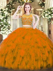 Ideal Sleeveless Zipper Floor Length Beading and Ruffles 15 Quinceanera Dress