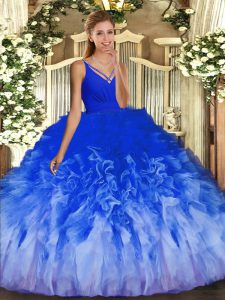 V-neck Sleeveless Tulle Ball Gown Prom Dress Beading and Ruffles Backless