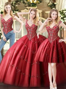 Custom Fit Floor Length Three Pieces Sleeveless Wine Red Quinceanera Gowns Lace Up
