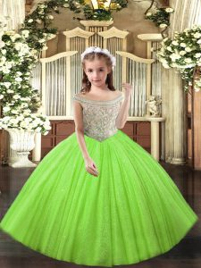 Elegant Off The Shoulder Sleeveless Little Girl Pageant Dress Floor Length Beading and Ruffles Yellow Green Tulle