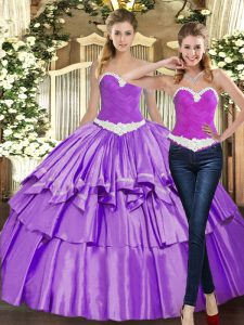 Eggplant Purple Sleeveless Floor Length Appliques and Ruffles Lace Up Quinceanera Dresses