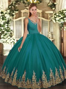 Luxury Floor Length Turquoise Sweet 16 Quinceanera Dress Tulle Sleeveless Appliques